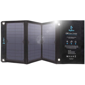 BigBlue 21W Solar Phone Charger with 2 USB Ports(2.4A Max Each), Foldable and Waterproof, Portable Solar Panel Charger Compatible with iPhone Xs XS Max X 8 7 Plus, iPad, Samsung Galaxy S9 S8, LG etc.