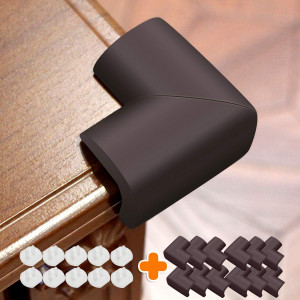 Baby Proofing Corner Protector (12 Pack) NBR Material Thickening Brown Corner Guards for Furniture Desk Child Safety Corner Bumper Table Corner Covers for Kids
