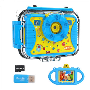 SHOWCAM Kids Camera for Children Toddler with16GB SD Card,Waterproof Child Video Cam for Age 3,4,5,6+,Selfie Supported 1080P 8MP 2.4 Inch Large Screen,Fill Lights,Silicon Handle,Face Recognition(Blue)
