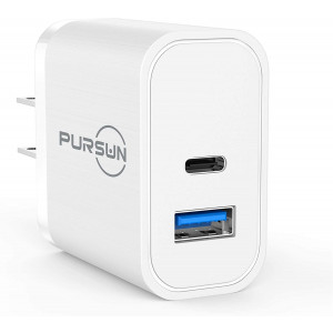 2020 Updated Power Delivery PD USB Wall Charger, Quick Charge 3.0 Technology, Fast 3A/18W Dual Ports Wall Charger, Portable Phone Charger Plug for iPhone, iPad, Samsung, Google Pixel, Nexus and More
