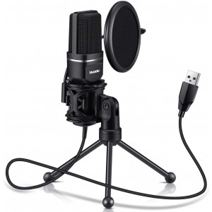 USB Microphone for Computer - Plug andPlay Computer Microphone - Metal Condenser Recording Microphone with Pop Filter for Skype, Recordings for YouTube, Google Voice Search, Games (Windows/Mac)