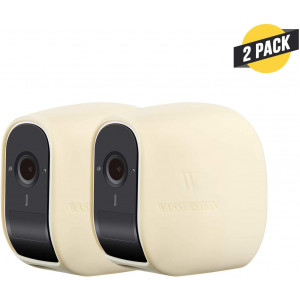 Wasserstein Silicone Skins Compatible with eufyCam E Wireless Security Camera - Help Camouflage and Accessorize Your Home Security Camera (2-Pack, Beige)