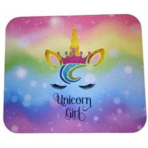 Cute Rainbow Unicorn Princess with Crown Face Pink Blue Yellow Purple Colors Decorative Desktop Office Silicone Mouse Pad