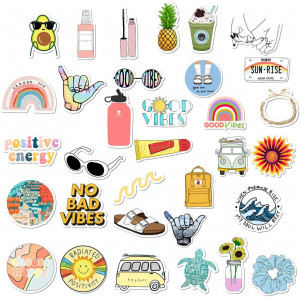 VSCO Stickers for Hydro Flask, Girls Stuff Cute Waterproof Trendy Stickers for Teens for Waterbottle,Laptop,Phone,Travel Extra Durable 100% Vinyl(35 Pack)
