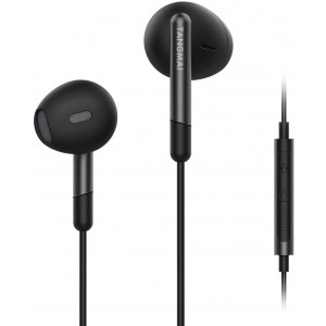 TANGMAI Wired Earbuds Headphones with Microphone, Extra Bass with 13.6mm PET+PU Drivers, Comfortable Lightweight Earphones with Volume Control, 3.5mm in Ear Headphones for Laptop/Smartphone/PC, Black
