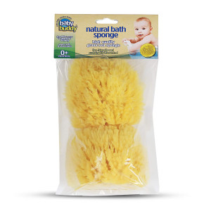 Baby Buddy Natural Baby Bath Sponge 4 Soft Grass Sea Sponge Soft on Baby's Tender Skin, Biodegradable, Hypoallergenic, Absorbent Natural Sea Sponge, 2 Pack, Yellow