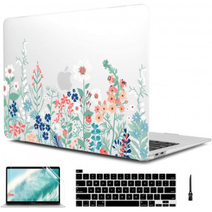 CiSoo Matte Frosted Hard Cover for New MacBook Pro 16 inch 2019 Release Model A2141 with Touch Bar and Touch ID,Plastic Flower Pattern Hard Case with Keyboard Cover and Screen Protector,Wildflowers