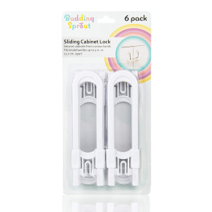 Safety Sliding Cabinet Lock (6-Pack) Easy to Use, Multi-Purpose Child Safety Lock, Hassle Free No Tools or Drilling Required, Best for Baby Proofing, Strong ABS Free Plastic Knob Cover