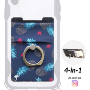 The StickyWallet +Ring  New 4-in-1 Spandex Stick-on Wallet w/Kickstand Finger Ring  Best Card Holder Sticker for Any Phone: iPhone 11 Pro Max XR XS X etc. (Pineapple Express Yourself)