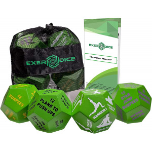 4-Pack Exercise Dice Bundle with Fitness Manual and Bag   Perfect for HIIT, Cardio, Yoga, Stretching, Strength Training, Sports, Crossfit, Plyometrics, Body Weight Workout, All Ages.