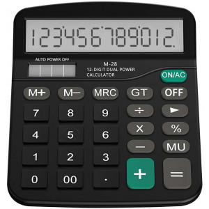 YUI Galleria Black Standard Function Desktop Calculator 12 Digit Large LCD Display Calculators Dual Power Handheld for Daily and Basic Office