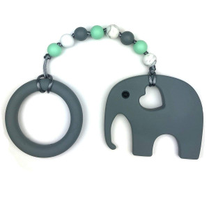 Baby Teething Toys by Nummy Beads Gray Elephant with Ring and Mint Beads Silicone Teether