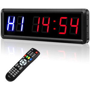 """Seesii Interval Timer Count Down/Up Clock, 1.5"""" 6 Digits LED Gym Timer Stopwatch with Remote for Home Gym Fitness Workouts"""
