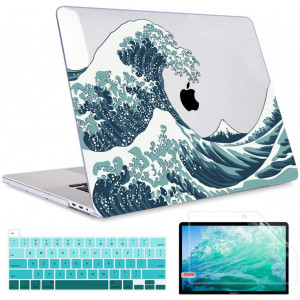 MacBook Pro 16 inch 2019 Release Model A2141, May Chen Crystal Clear Hard Shell Case Cover for MacBook Pro 16 inch Fit Touch ID and Touch Bar and Retina Display - Great Wave