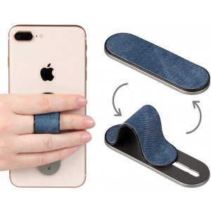 AOLIY Finger Strap for Smartphone, Universal Cell Phone Grip Stand | Phone Holder for Back of iPhone Samsung HTC Android iPad Mini (Denim Blue)