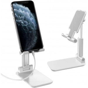 "MoKo Cellphone Stand, Multi-Angle Phone Dock Foldable Phone Holder for Desk with Charging Port for Phones Tablet(Up to 8), Fit iPhone 11 Pro Max/11 Pro/11, iPad Mini 5/4/3/2, Galaxy S20 6.2"", White"