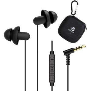 Sleep Earbuds, Hearprotek 2 Pairs Ultra Soft Lightweight Silicone Sleeping Earphone Headphones with Volume Control and mic for Side Sleeper, Snoring, Air Travel, Relaxation (Black)