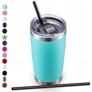 ALOUFEA 20oz Stainless Steel Tumbler with Lid and Straw, Vacuum Insulated Tumbler Cup, Double Wall Coffee Tumbler, Powder Coated Travel Coffee Mug, Mint