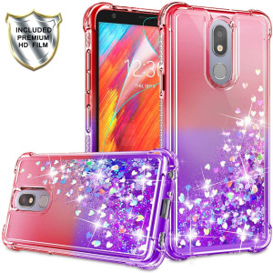 LG Aristo 4+ Case, LG Aristo 4 Case, LG Prime 2 Cases with HD Screen Protector for Girls Women, Gritup Cute Clear Gradient Glitter Liquid TPU Slim Phone Case for LG Aristo 4 Plus Red/Purple