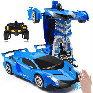 Zahooy RC Car Transforming Robot Model Toy,1:14 Gesture Sensing Drifting Remote Control Transform Vehicle,Deformed Racing with Realistic Engine Sounds and One-Button Transformation for Boys Girls(Blue)