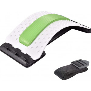 Emoly Back Stretcher - Lower and Upper Back Pain Relief, Lumbar Stretching DevicePosture Corrector - Back Support for Office Chair | Upper Back Stretcher Support and Pain Relief (White/Green)