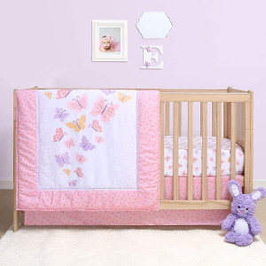 The Peanutshell Butterfly Crib Bedding Set for Baby Girls   3 Piece Nursery Set   Baby Quilt, Crib Sheet, and Dust Ruffle