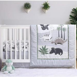 The Peanutshell Dinosaur Crib Bedding Sets for Boys   3 Piece Nursery Set   Crib Comforter, Fitted Crib Sheet, Crib Skirt Included