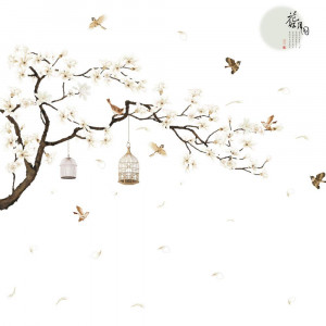 RW-2022 Removable DIY Romantic Warm White Cherry Blossom Tree and Flower Wall Decal 3D Wall Art Stickers Murals Home Decor for Kids Gilrs Bedroom Baby Nursery Rooms Living Room Offices Decoration (D)