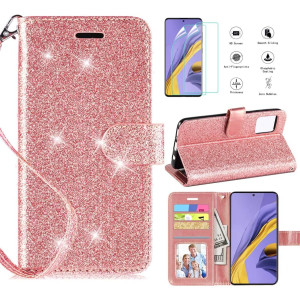 Casekey for Samsung Galaxy A51 Case, A51 Phone Case W/HD Screen Protector, Kickstand Card Slots Wrist Strap Magnetic Flip PU Leather Glitter Protective Wallet Case, Rosegold