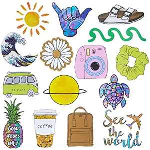 Roberly VSCO Stickers for Water Bottles, Aesthetic Cute Stickers for Laptop Travel Case Phone, Waterproof Water Bottles Stickers for Teens Girls (2.4-3.1 INCHES)