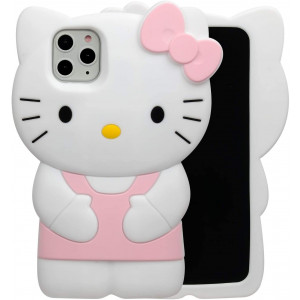 """Phenix Color Hello Kitty Case for iPhone 11 Pro 5.8"""" 2019, Cartoon 3D Cute Soft Silicone Rubber Protective Gel Back Cover,Animated for Kids Girls (Light Pink, iPhone 11 Pro 5.8"""")"""