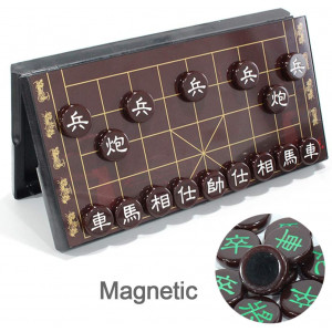 Luoyer 12.5inch Portable Chinese Chess Set with Folding Board and Magnetic Piece Traditional Xiangqi Classic Educational Strategy Games Board Games for 2 Players (Red Board Red Piece)