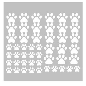 49 Pieces/Set Dog Paws Wall Decals Vinyl Pawprints Sticker Animal Footprint Wall Art Decoration for Kids Boy Girl Baby Nursery Bedroom Living Room Animal Tracks Decor YMX21 (White)