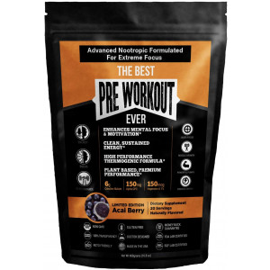 The Best Pre Workout Ever All Natural Nootropic Preworkout Powder - Clean Energy Boost Focus and Strength - Muscle Builder Supplement for Men and Women - Keto Friendly Plant Based and Limited Acai Berry
