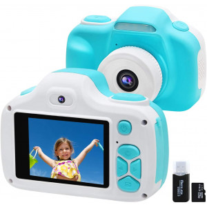 Kids Camera for Boys Gifts with 16GB TF Card, Selfie Video Digital Cameras with Flash for Children 3-12 Years Old, Shockproof Mini Learning Toy Cameras for Boys Girls Birthday Travel Gifts (Blue)