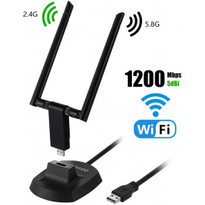 OOWOLF USB WiFi Adapter 1200Mbps Dual Band 2.4GHz/300Mbps 5.8GHz/867Mbps USB 3.0 Wireless WiFi Dongle with 5dBi High Gain Antenna for PC, Desktop, Laptop of Windows XP/Vista/7/8/10, Mac, Linux