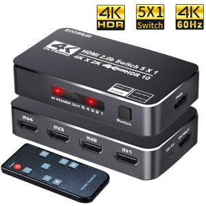 4K HDR HDMI Switch, Koopman 5 Ports 4K 60Hz HDMI 2.0 Switcher Selector with IR Remote, Supports Ultra HD Dolby Vision, High Speed (Max to 18.5Gbps), HDR10, HDCP 2.2 and 3D