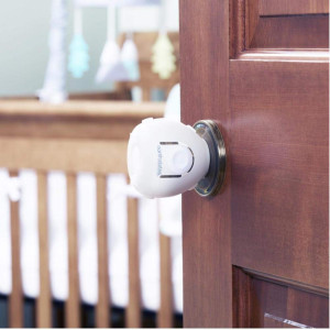 Toddleroo by North States Door Knob Covers | Prevents Child from Opening Doors l Fits Most Doors  assembles Easily for a Quick Safety Solution | Baby- Proof with Confidence (2-Pack, White)