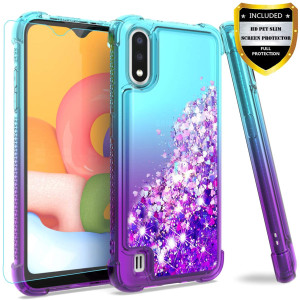Galaxy A01 Case,with HD Screen Protector for Girls Women,M MAIKEZI Gradient Quicksand Glitter Bling Flowing Liquid Floating TPU Bumper Cushion Protective Cute Case for Samsung Galaxy A01(Teal Purple)