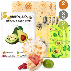 HONEYALLEY Reusable Beewax Food Wrap, 7 Pack Plastic Free Alternative for Food Storage, Eco Friendly Sustainable Bowl Cover, Zero Waste Biodegradable Sandwich Wrappers3 Sizes (S, M, L)