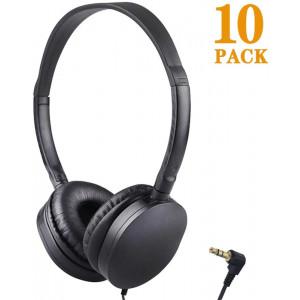 Bulk Headphones Wholesale Earbuds Earphones 10 Pack for Kids School Classroom Students Children and Adult (10 Black)