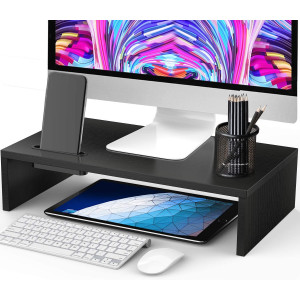 AMERIERGO Monitor Riser Stand - 16.5 Inch Desk Organizer Stand for Laptop Computer, Desktop Printer Stand with Phone Holder and Cable Management, Versatile as Storage Shelf and Screen Holder