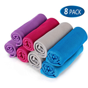 "8Packs Cooling Towel (40""x 12""), Ice Towel, Microfiber Towel, Soft Breathable Chilly Towel Stay Cool for Yoga, Sport, Gym, Workout, Camping, Fitness, Running, Workout and More Activities"