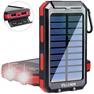 Solar Phone Charger,Yelomin 20000mAh Mobile Power Bank,Portable Outdoor Camping Travel External Backup Battery Pack, Panel Charger Dual USB 5V Outputs 2 LED Light Flashlight with Compass