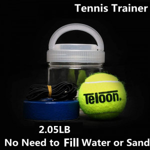 Teloon Portable Tennis Trainer 2.05LB Weight Heavy Iron Base Tennis Training Tool Exercise Tenis Ball Sports Self-Study Rebound Ball Baseboard Sparring Device