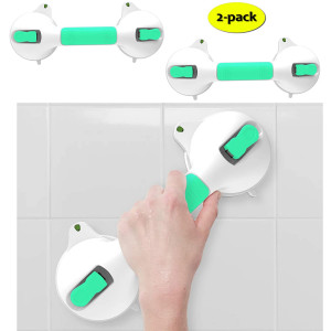 SAFETY+BEAUTY Glow-in-Dark Suction Bath Grab Bar with Indicators, Bathroom Shower Handle, Green/White | 12in, 2 Pack