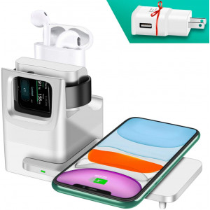 Updated Version 3 in 1 Wireless Charger Designed for Apple Watch Stand, Compatible with Apple Watch Series 5 4 3 2 1, AirPods and iPhone 11/11 Pro Max Xs Max XR (White)