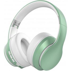 Baseman Active Noise Cancelling Headphones Bluetooth 5.0 Wireless Headphone Over Ear, Deep Bass Boosted Head Phones with Microphone ANC Foldable 20H Playtime Headset for Travel Work Cellphone TV Green