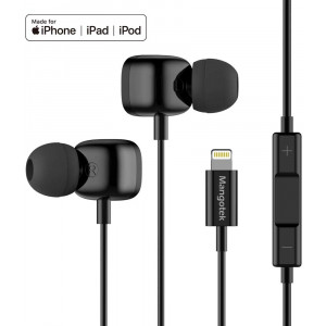 Mangotek Lightning Headphones for iPhone 11, MFI Earphones for iPhone Wired Earbuds with Mic Compatible with iPhone 11 Pro/Pro Max iPhone X/XS/XS Max/XR iPhone 8/8 Plus iPhone 7/7 Plus Black