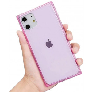 """HUIYCUU Compatible with iPhone 11 Case 6.1"""",Slim Cute Girl Women Crystal Clear Design Flexible Drop Protection Shockproof Anti-Slip [Soft Bumper Cushion] Square Cover Case for iPhone 11,Pink"""